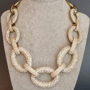 Oval link pave statement necklace